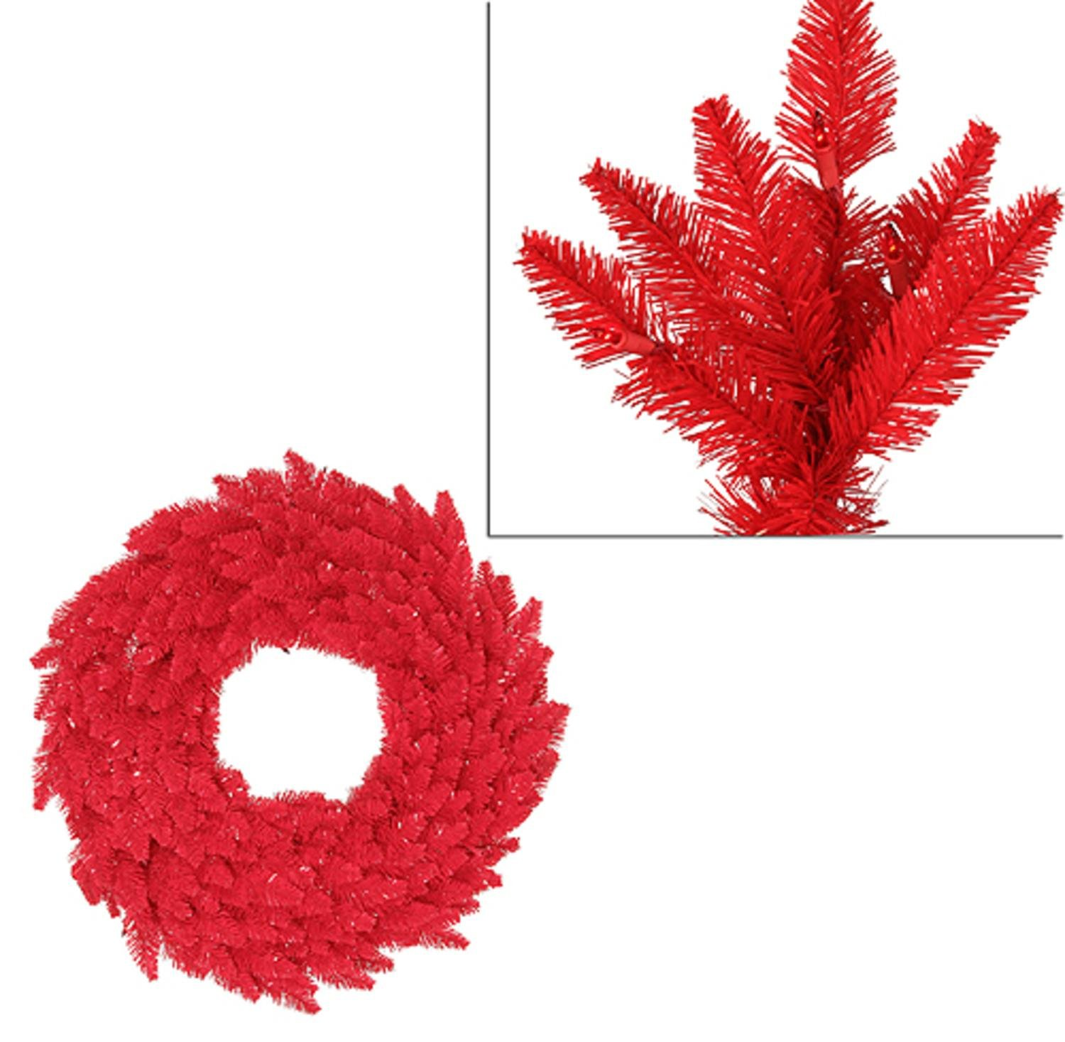 5' Pre-Lit Red Ashley Spruce Artificial Christmas Wreath - Red Lights