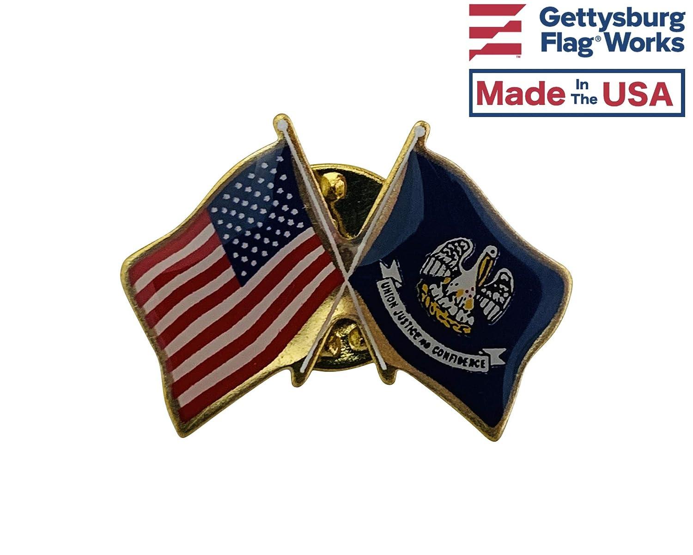 Qty 1 Crossed Flags Double Waving Friendship Lapel Pin Gettysburg Flag Works Louisiana /& U.S