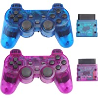 Wireless Controller for PS2 Play Station 2 Dual Vibration 2 - ClearBlue and ClearPurple
