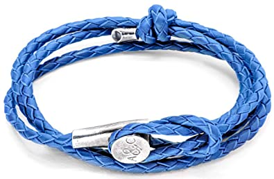 Anchor & Crew Royal Blue Dundee Silver and Leather Bracelet nM39eEwfj