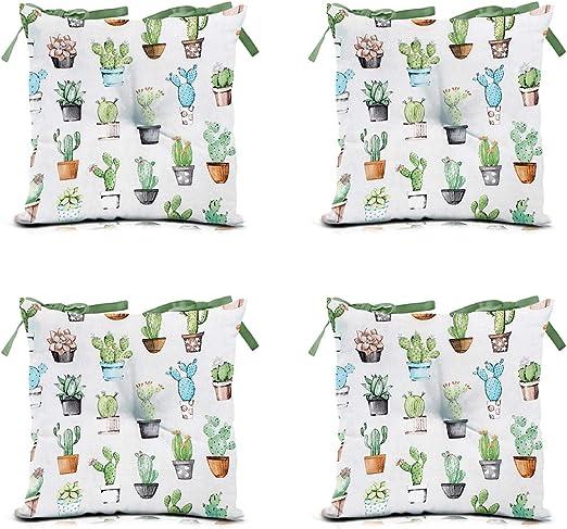 domarex Juego de 4 Cojines para Silla de jardín, Verde, 40 x 40 cm, Cactus para Interior y Exterior, para Interior y Exterior, con Cordones, para sillas de jardín: Amazon.es: Juguetes y juegos