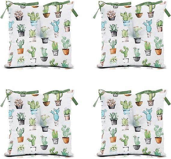 40 x 40 cm Set di 4 Cuscini per sedie da Giardino domarex con Lacci Colore Verde per Interni ed Esterni