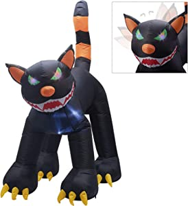 Twinkle Star Inflatable Halloween Decorations 6.5 ft Black Cat with LED Flashing Eyes and Moving Head, Home Yard Lawn Garden Party Outdoor Decor