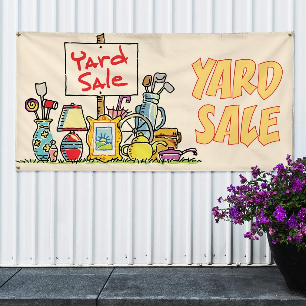 8 Grommets One Banner Multiple Sizes Available Vinyl Banner Sign Yard Sale #1 Style A Business Yard Sale Marketing Advertising White 48inx96in