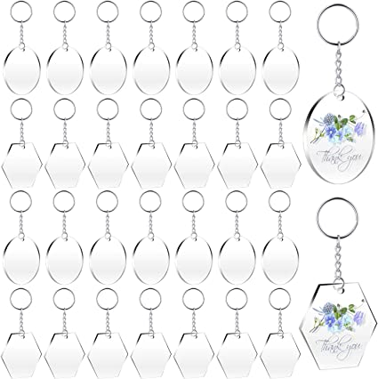 30 PCS Key Chains and 30 PCS Colourful Tassel Pendant Keyring,Large Charms For Designing Your Own Key Chain Transparent Acrylic Key Chain Blanks,15 PCS Circle Discs,15 PCS Hexagon Discs Acrylic Transparent Circle Discs