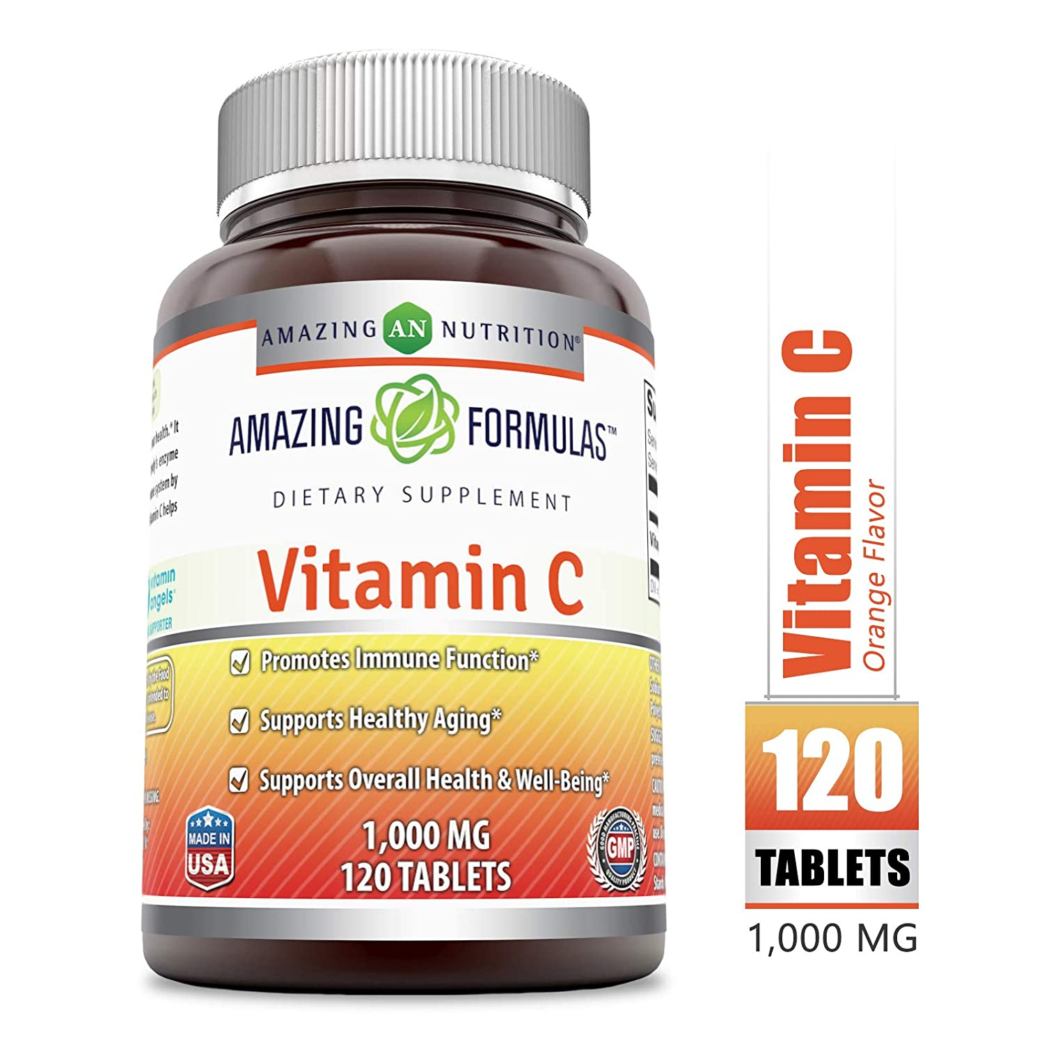Amazing Formulas Vitamin C 1000 Mg, Tablets - (Non-GMO) Vegan - Promotes Immune Function* - Supports Healthy Aging* - Supports Overall Health & Well-Being* (120 Count)