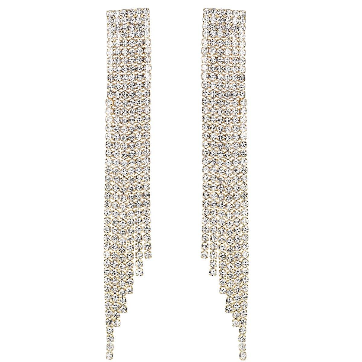 mecresh Gold Bridal Crystal Long Tassel Wedding Earrings for women brides bridesmaid