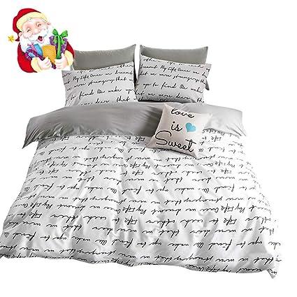 Amazon Com Bulutu Love Letters Print Modern Men Duvet Cover Set