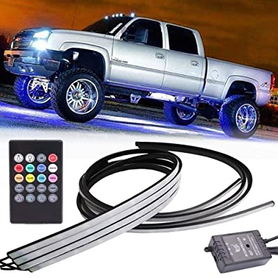 SIZZLEAUTO Car Truck Underbody LED Neon Strip Lights Kit w/Sound Active Function and Wireless Remote Control 5050 SMD Multi-color RGB Underglow Decorative Atmosphere Waterproof 24inch /36inch: Automotive