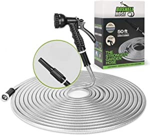 Stainless Steel Metal Garden Hose - 50FT with 2 Nozzles, Lightweight, Heavy Duty, High Pressure, Flexible, Tangle Free & Kink Free Cool to Touch, Outdoor Yard Hose