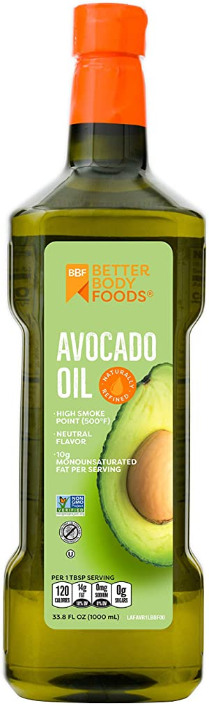 BetterBody Foods Avocado Oil, Refined Non-GMO Cooking Oil for Paleo and Keto, 1 Liter