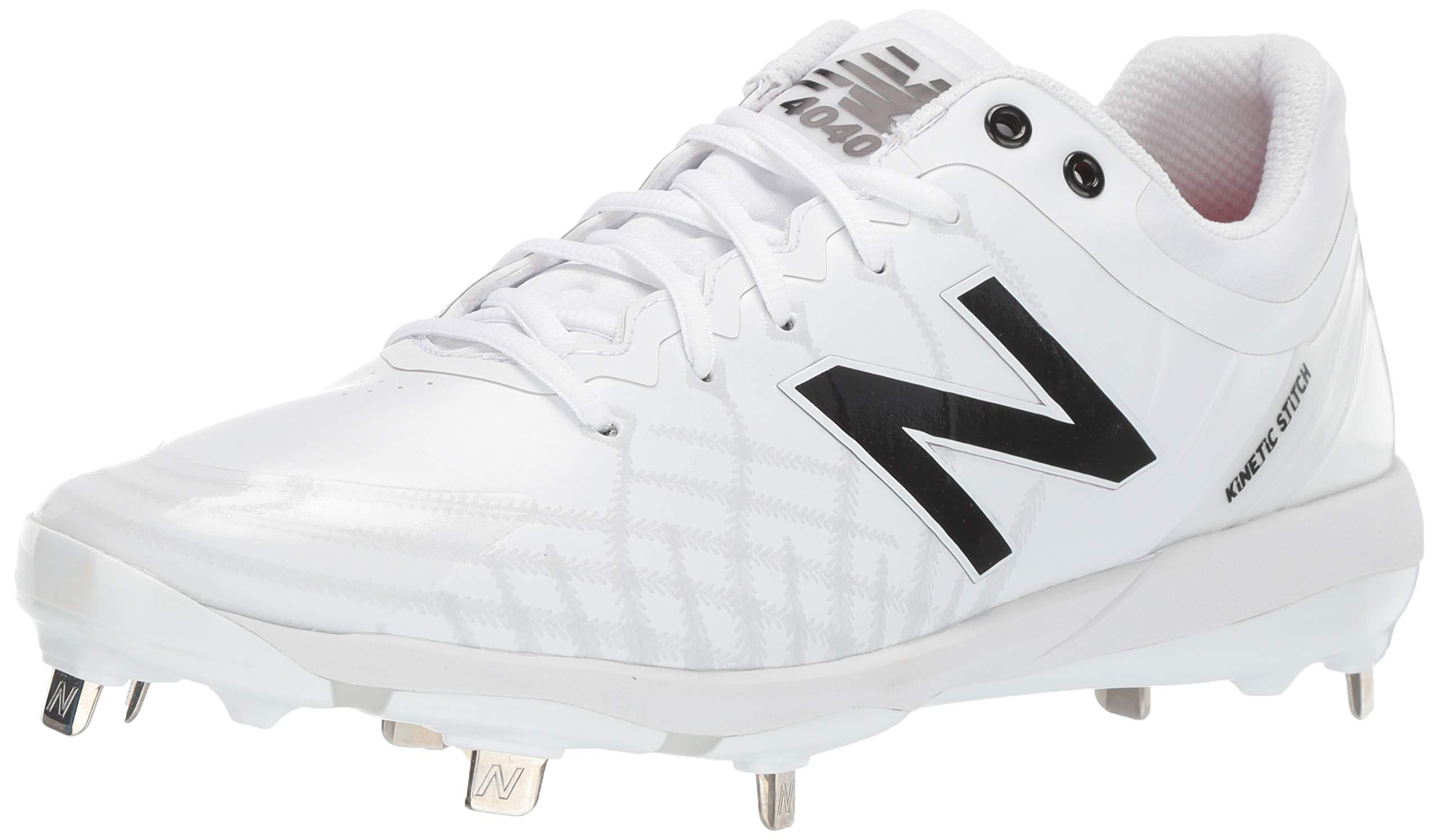 New Balance Men's 4040v5 Metal Low-Cut Baseball Cleat, White/White, 9 M US by New Balance