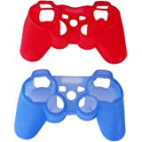 Dcolor 2 Pcs Red+Blue Silicone Rubber Skin Gel Case Cover For Sony PS3 Controller