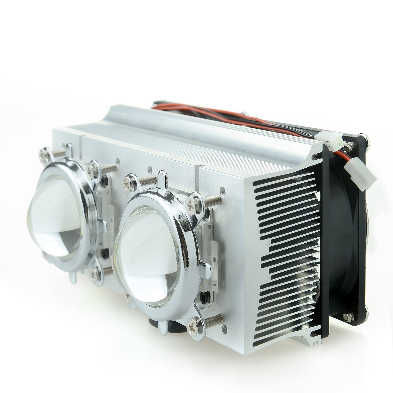 Tesfish Double Aluminium Heatsink Copper Core Cooling Fan+Lens 60 degree For 20-200W High power LED (Heatsink+44mm lens)