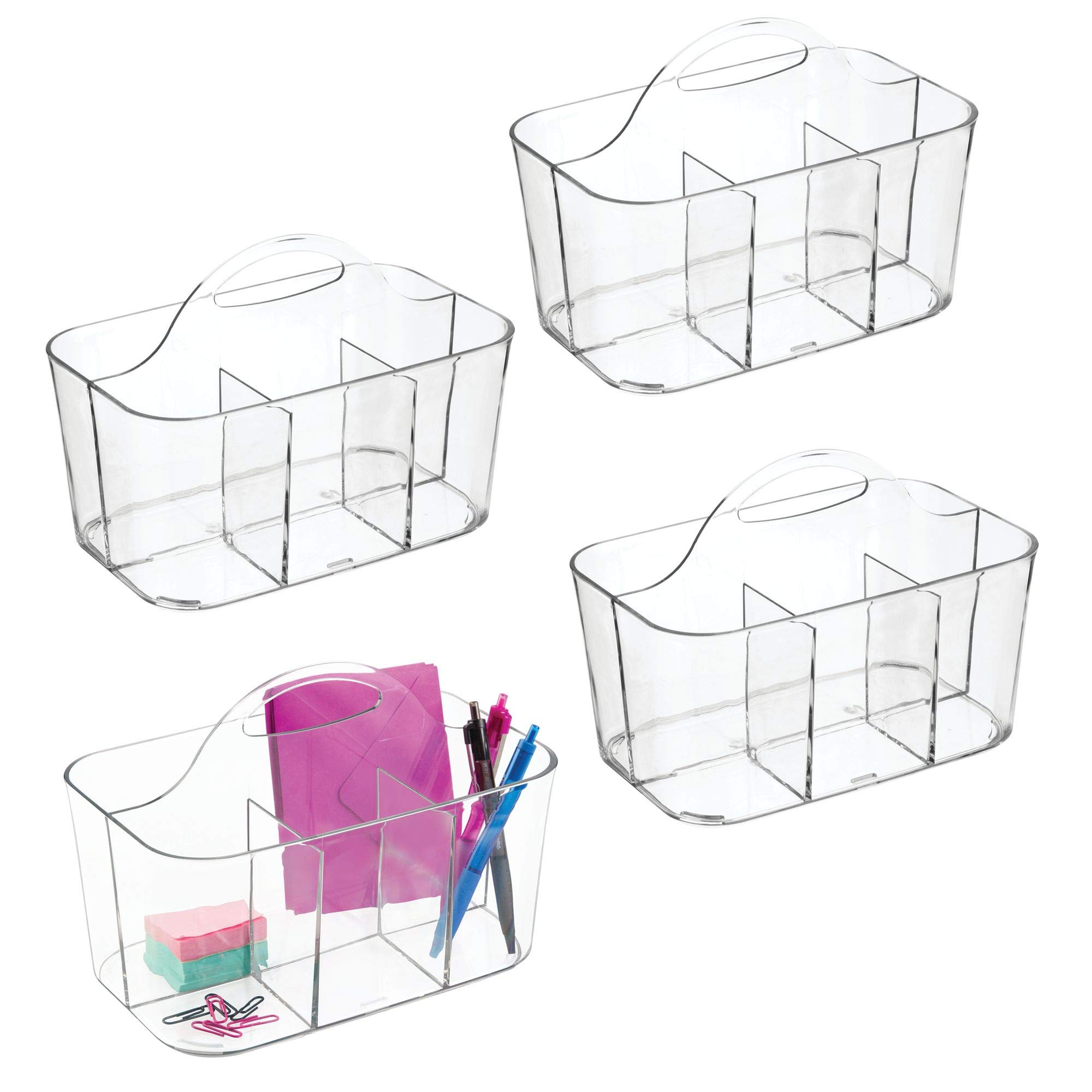 mDesign Office Supplies Desk Organizer Tote for Stapler, Pens, Pencils, Notebooks - Pack of 4, Small, Clear