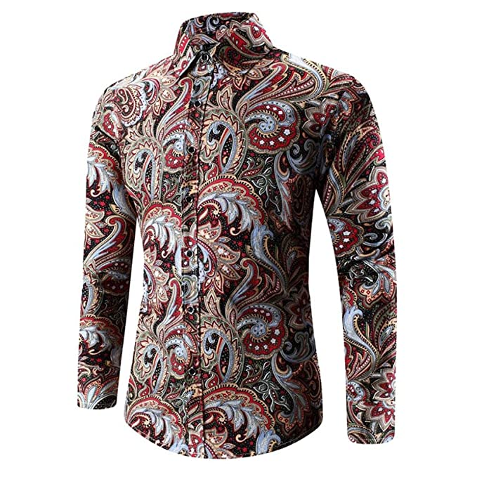 Culater® Camisa Hawaiana Hombre, Manga Larga Moda Fashion Slim Fit Shirts (XS,