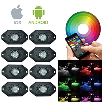 RGB LED Rock Lights Bluetooth Multicolor Neon LED Light Kit with 8 Pods Lights for for  sc 1 st  Amazon.com & Amazon.com: RGB LED Rock Lights Bluetooth Multicolor Neon LED ... azcodes.com