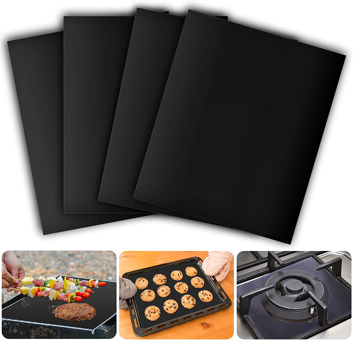 4 Pack Oven Liners for Bottom of Electric Oven, Gas, Toaster & Microwave Ovens, 500 Degree Reusable Oven Protector Liner, Extra Thick/Heavy Duty/Easy to Clean Non stick Oven Mat