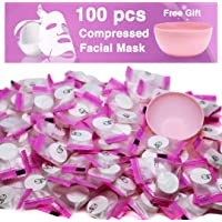 (100 pcs) - 100 pcs Compressed Facial Mask Sheet Beauty DIY Disposable Mask Paper Natural Cotton Skin Care Wrapped Masks Normal Thick,Get a Small Mask Bowl Free