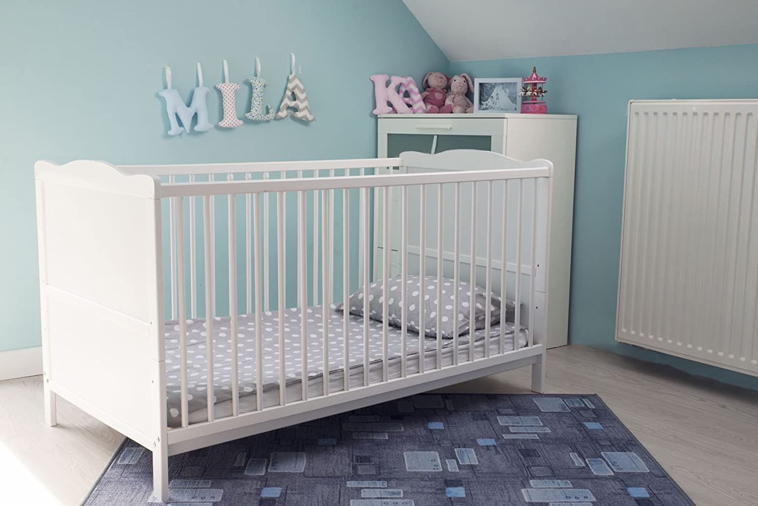 White Cot Bed With Cotbed SPRUNG Mattress Converts Into A