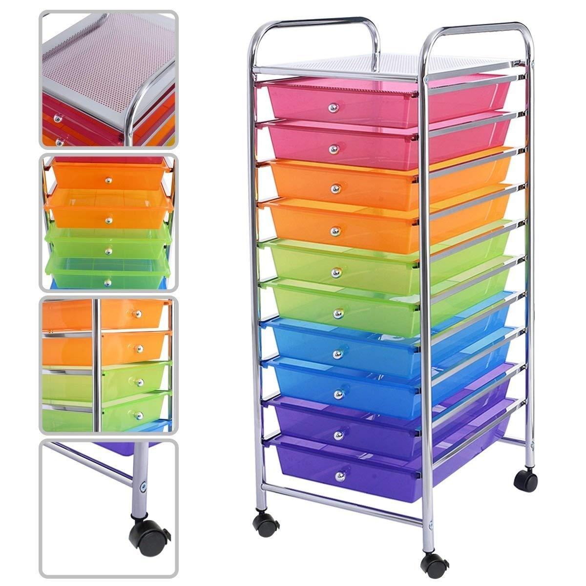 10 Drawer Rolling Storage Cart Scrapbook Paper Office School Organizer Rainbow US Ship