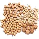 Buwant Dekorative Holz Thumb Tacks Push Pin Nadel Pinnadeln Stecknadeln Reißnägel,144 pack