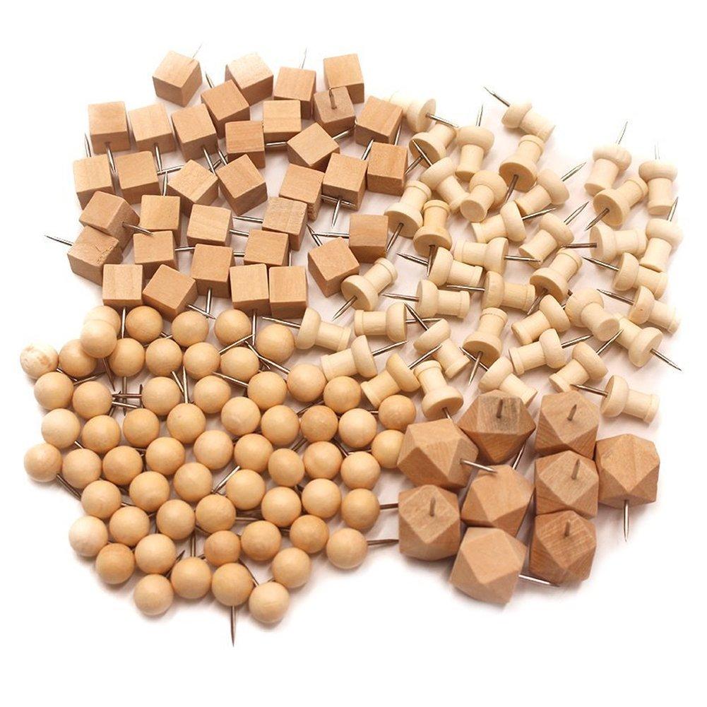 Buwant 144confezione decorativa legno cilindrici in legno pollice puntine per mappa, foto e calendario 144 pcs