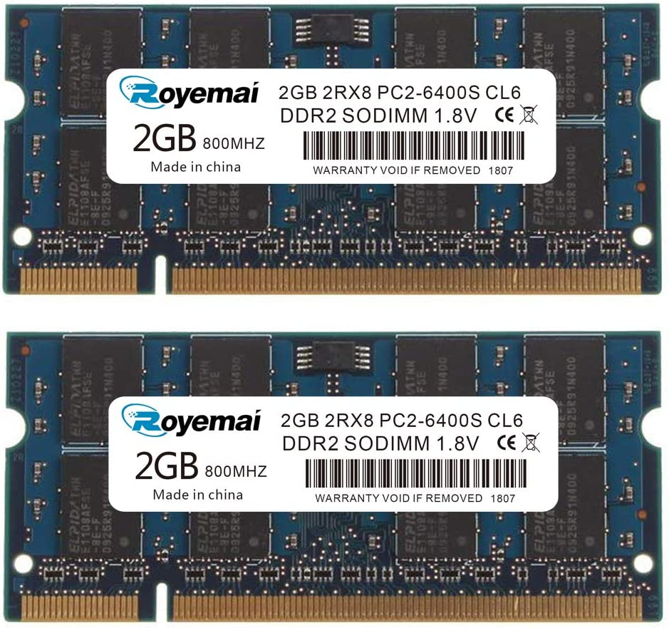 ROYEMAI 4GB Kit (2x2GB) PC2-6400 DDR2 800MHz 2RX8 CL6 1.8V RAM Laptop Memory Upgrage Kit