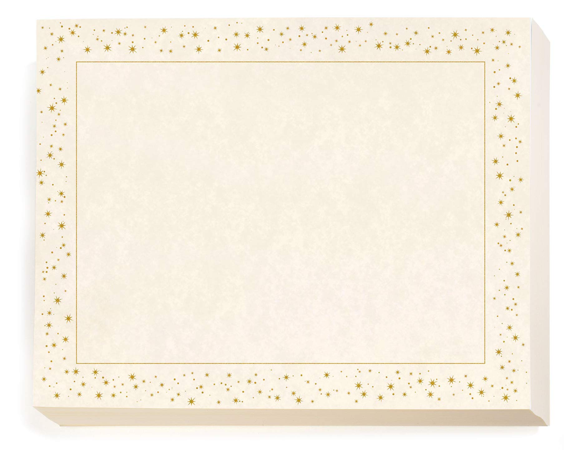 Gold Mini Stars Standard Certificates, 8 1/2 inch x 11 inch, 28lb Parchment Stock, 100 Count by PaperDirect