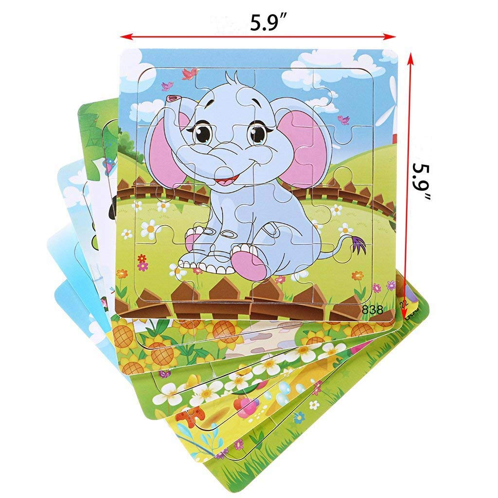 Wooden Animals Educational Puzzle 5 in 1 Pack for Elephant Frog Tortoise Giraffe Bee Set 16 Pieces Autism Children Puzzles Learning Toys 16 Pieces Puzzle Wisdom play Kids Puzzles Toys for 2-4 Ages