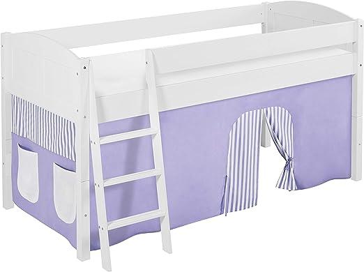 Lilokids IDA 4106 - Cama Alta Infantil de Madera, Color Lila, Beige y Blanco, con Cortina, 208 x 98 x 113 cm: Amazon.es: Juguetes y juegos