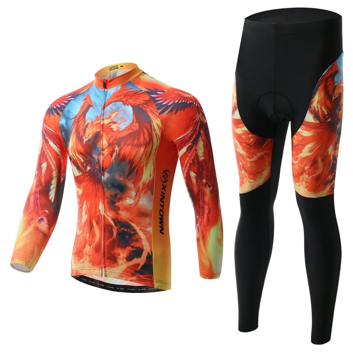 BESYL ユニセックス プリント ハイパフォーマンス メッシュ サイクリング服 スーツ 通気性 長袖 サイクリング ジャージ ビブ パッド入り パンツ キット 自転車 バイク ライディング バイカー (オレンジ イエロー ファイヤー フェニックス) B018G5SIFO XXL (US XL)|Fleece-Long-Set Fleece-Long-Set XXL (US XL)