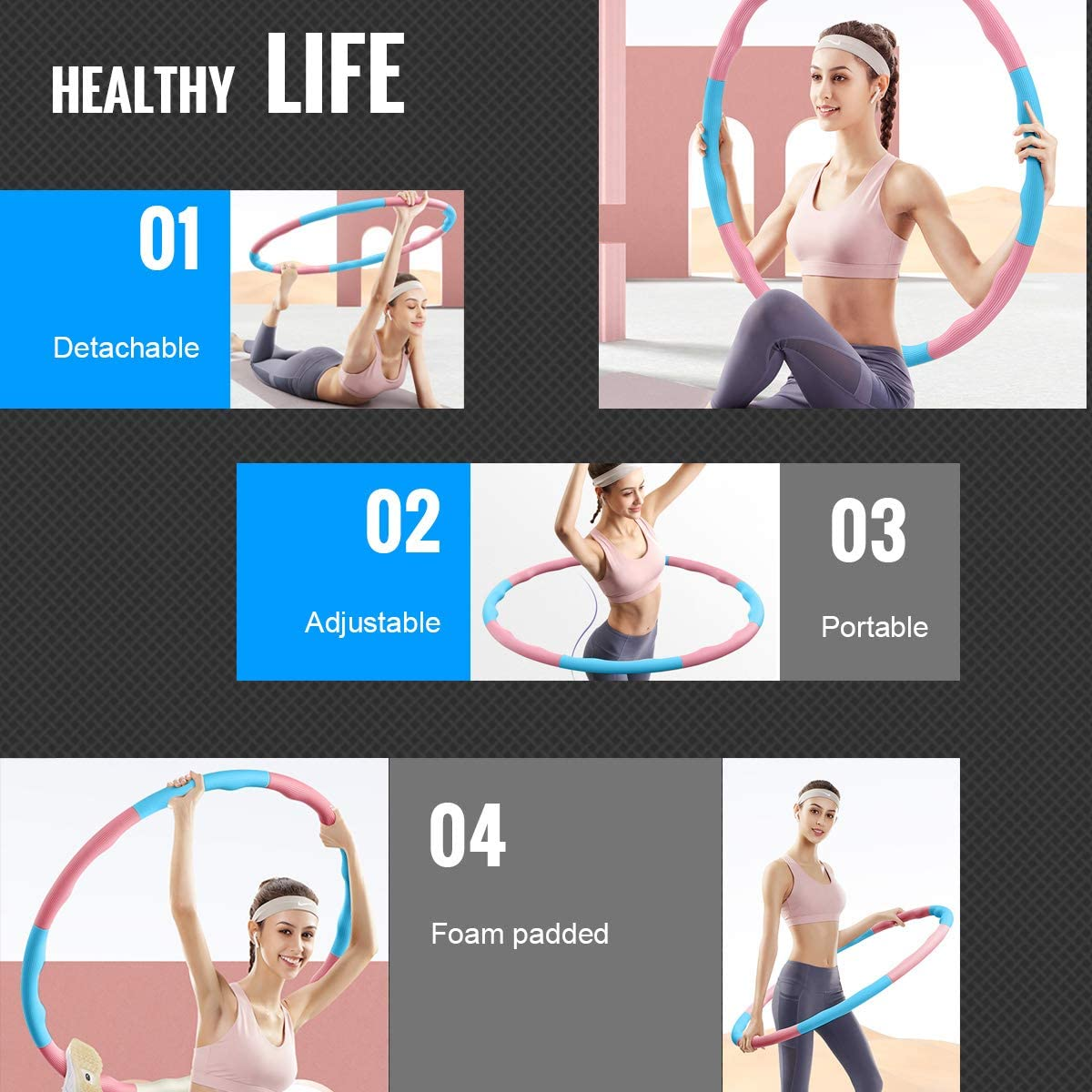 Pink/&Blue 8 Section Detachable Design with Waist Ruler DUTISON Hula Hoop fitness for Adults Soft EVA Foam Padded Hula Hoops 1KG