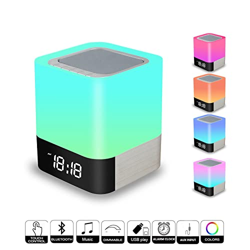 Touch Control Bedside Lamp with Wireless Bluetooth Speaker, Portable Smart LED Touch Sensor Table Lamp Dimmable RGB Multi-Color Changing Night Light, All in 1 Alarm Clock, MP3 Player, Hands free Calls Bluetooth Speaker Light Touch Lamp Mood Lighting Reading Lamp