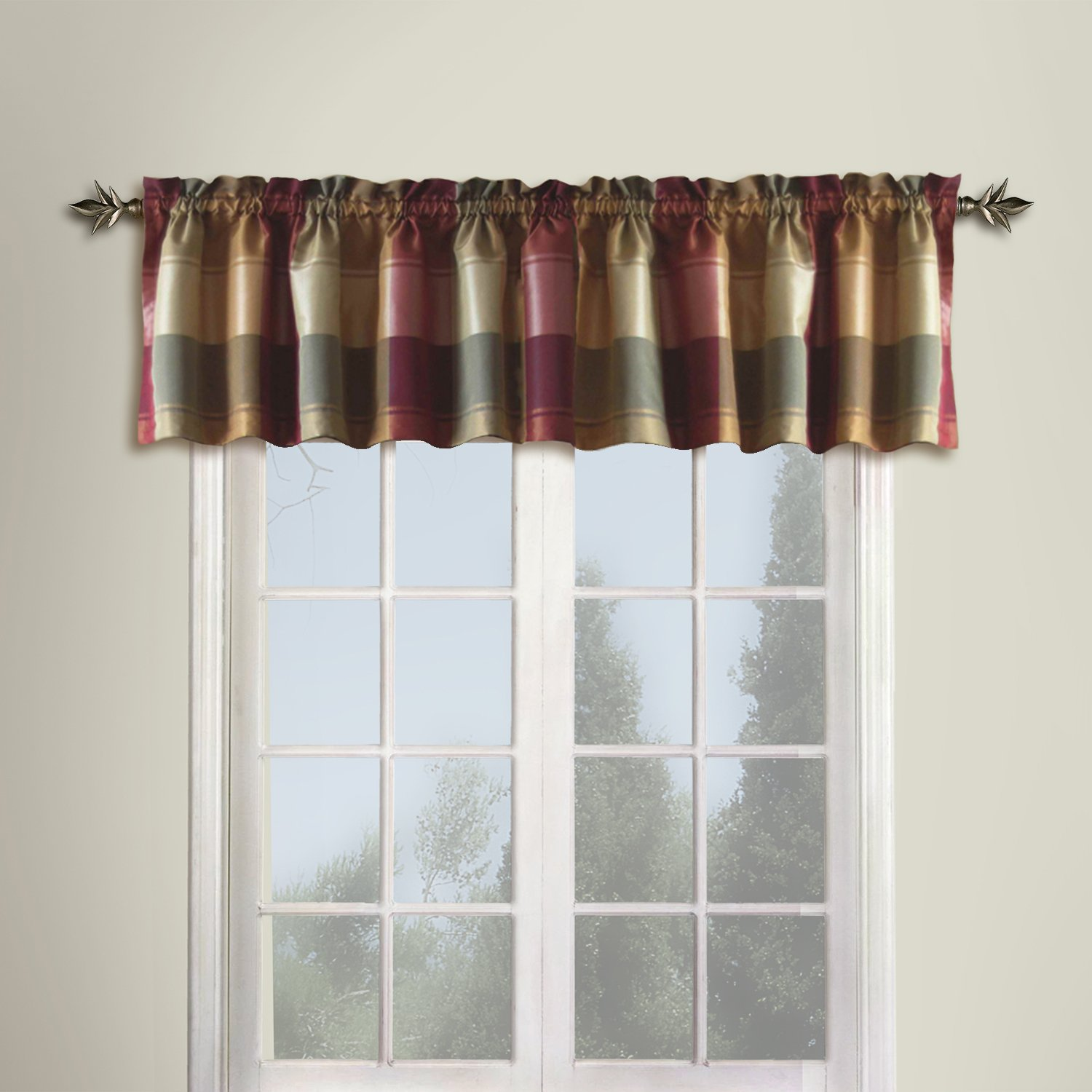 Amazon United Curtain Plaid Straight Valance 54 By 18 Inch Burgundy Home Kitchen