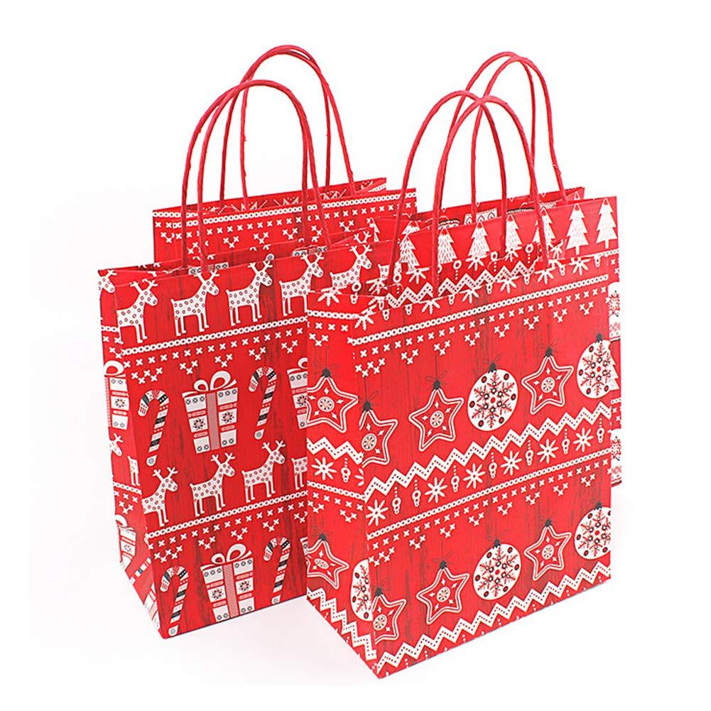 Yamalans Christmas Gift Candy Bag Cartoon Santa Claus Reindeer Pattern Kraft Paper Gift Bag Candy Storage Party Favor Random Style S