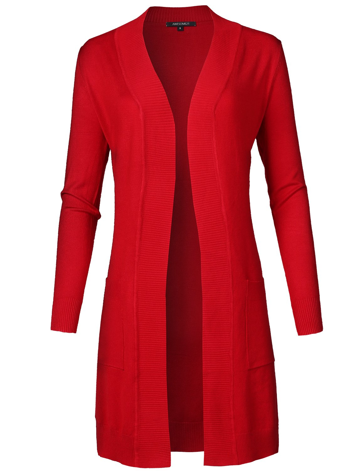 Awesome21 Solid Soft Stretch Longline Long Sleeve Open Front Knit Cardigan Red Size S