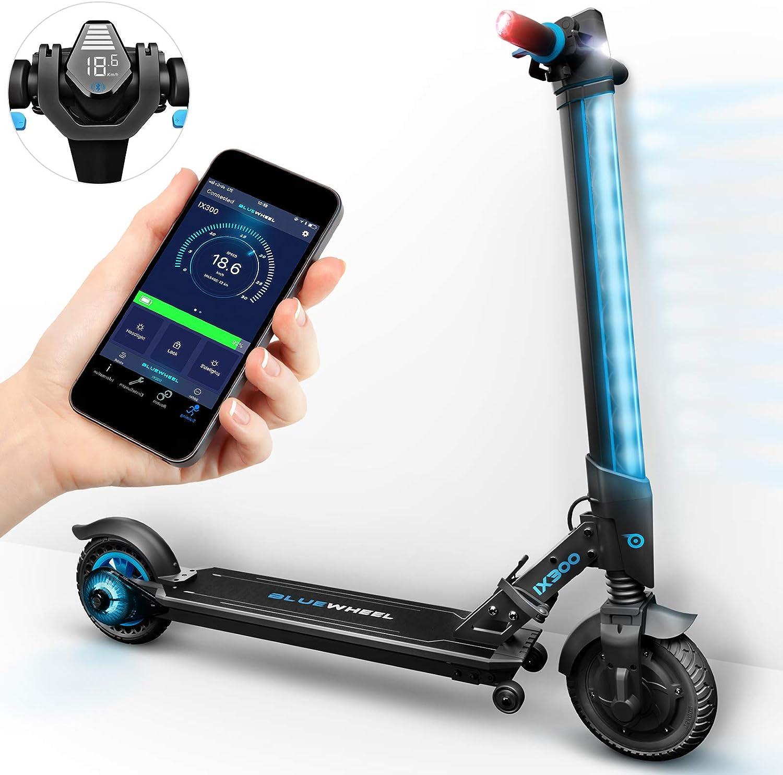 Bluewheel ¡Novedad 2018! Patinete eléctrico Scooter IX300 App Smartphone,LED, Bluetooth,LCD Display, batería Li-Ion de hasta 20 km*. Patín Freestyle para niños y Adultos (IX300 S)