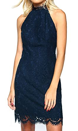 5e7bf3c4d3 AFCastle Fetching Lace Dress, Elegant High Neck Sheath Navy Blue Cocktail  Dresses for Women