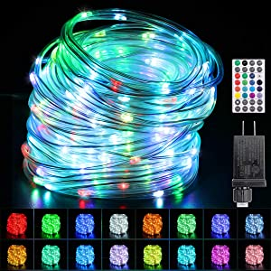 TianQin WY Rope Lights 66ft Upgrade 200 LEDs16 Colors Changing Waterproof Low Voltage Starry Fairy Lights Plug in for Bedroom,Indoor,Patio,Home Christmas Decor (66ft)