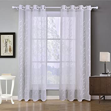 GWELL Weiß Transparent Gardinen Ösenschal Vorhang Mit Ösen Dekoschal Für  Wohnzimmer Schlafzimmer 1er Pack Muster