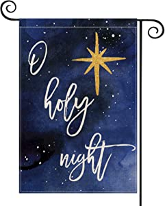 NOT BRANDED O Holy Night Star Watercolor Garden Flag Vertical Double Sized, Christmas Winter Holiday Yard Outdoor Decoration 12.5 x 18 Inch