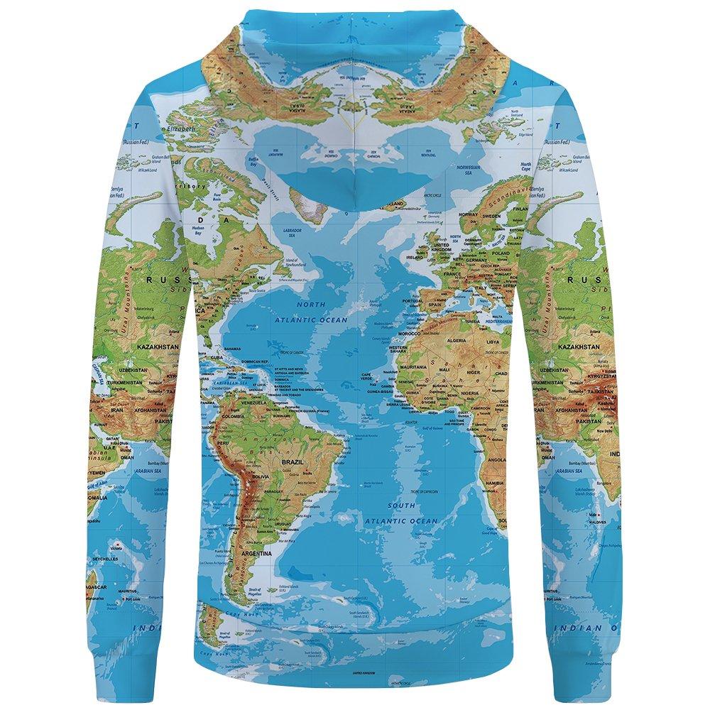 f610f8bcd92d04 Amazon.com  KYKU Men Women 3D Printed Hoodies World Map Plus Sweatshirts  Pullover Big Pocket  Clothing