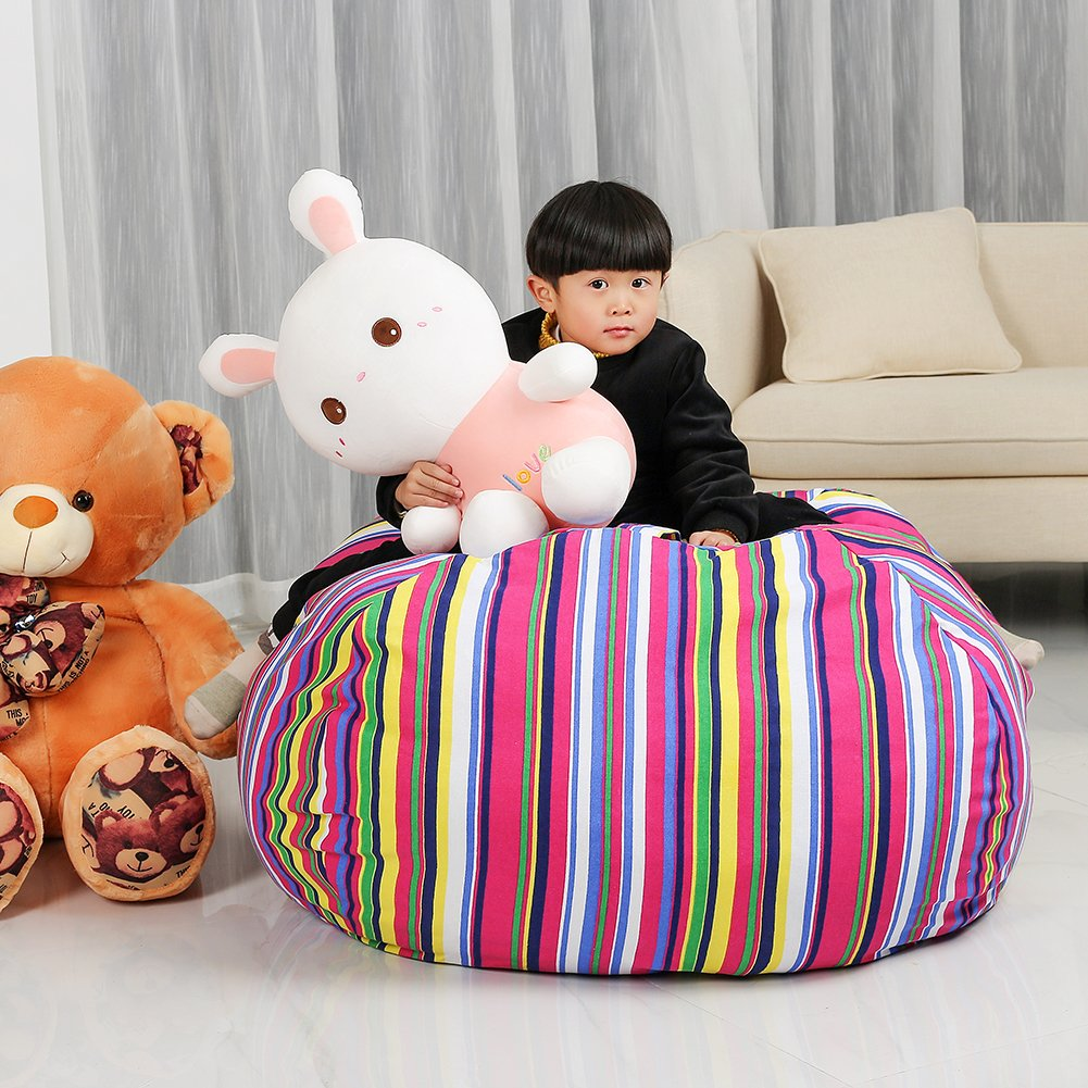 Stuffed Animal Storage Kids' Bean Bag Chair - Cotton Canvas Children's Plush Toy Organizer storage bag, Storage Solution for Plush Toys, Blankets, Towels & Clothes (48'',Colorful stripes) by Lanlin (Image #4)
