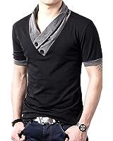 (メイク トゥ ビー) Make 2 Be スリム Vネック 長袖 半袖 Tシャツ スカーフ風 カジュアル シャツ MF01