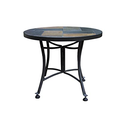 Amazing Dupont Mosaic Round Side Table Design Made W/ Stone/Concrete And Metal In  Gray