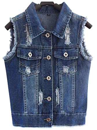 005cbb902de766 CYSTYLE Damen Loch Ausfransen Weste Jacke Ärmellos Einfache Beiläufige  Jeansweste (Blau, EU XXS=