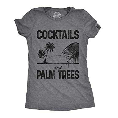 72b889243 Crazy Dog T-Shirts Womens Cocktails and Palm Trees Tshirt Cute Summer  Vacation Tee for