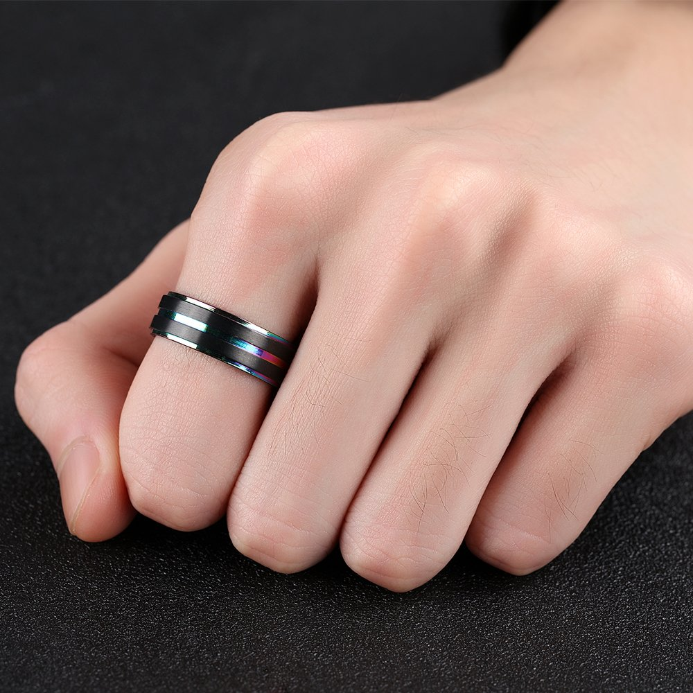 JellCat 7mm Black Mens Wedding Bands Titanium Brushed Matte Rainbow ...