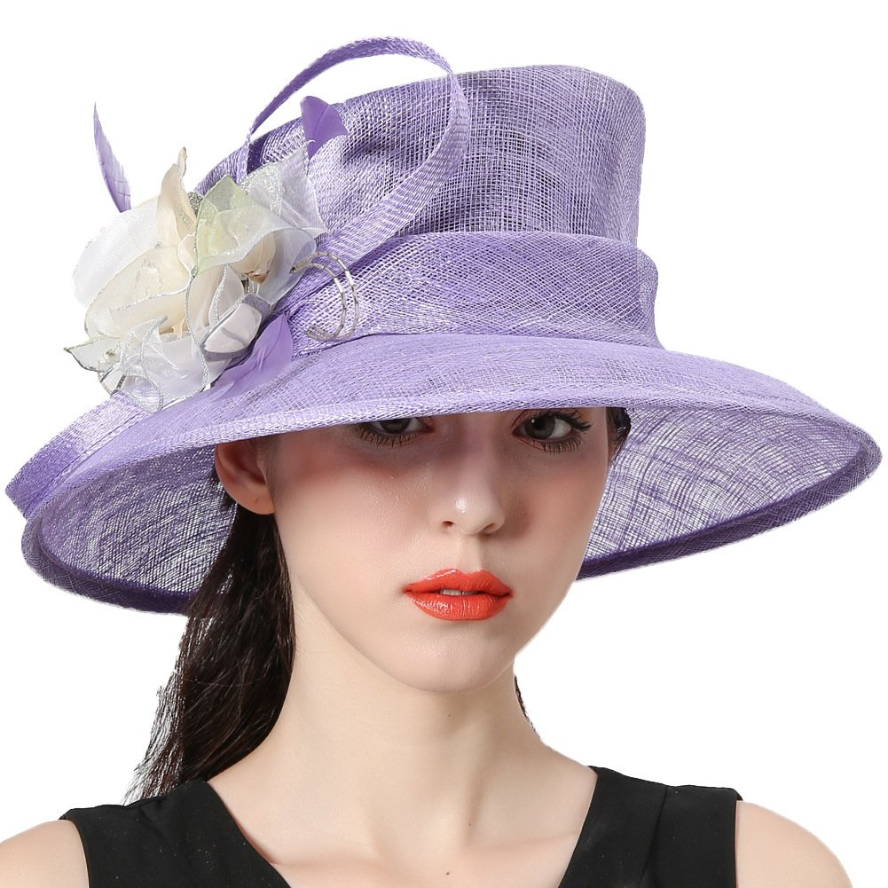 June's Young Women Hats Flapper Sinamay Floral Church Hat Light Purple